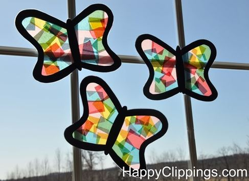 Kids diy craft for spring stained glass butterflies for Butterfly stained glass craft