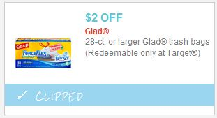 picture about Glad Trash Bags Printable Coupon called Fresh $2/1 Satisfied Trash Baggage Printable Aim Coupon