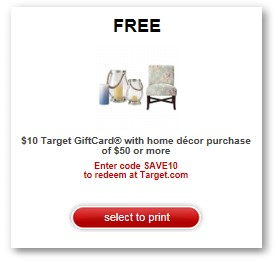 target home decor coupons free 10 gift card when you spend 50 in home decor 11757