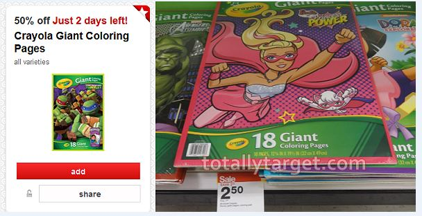Crayola Giant Coloring Pages Only $1.25 At Target | TotallyTarget.com