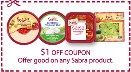 Sabra coupons are most often printables on Sabra's website with values of $ off. There are occasionally electronic offers from Target Cartwheel or store coupons.