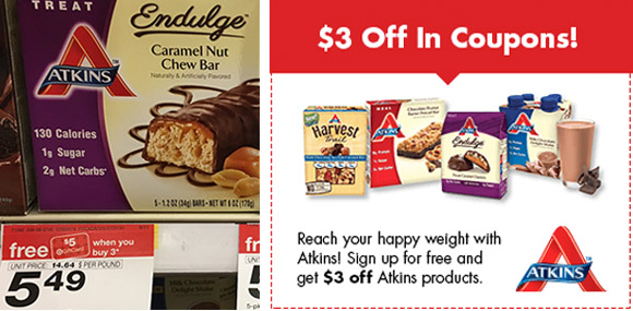 photograph regarding Atkins Printable Coupons named Obtain $3 within just Atkins Discount coupons + No cost $5 Present Card wyb 3