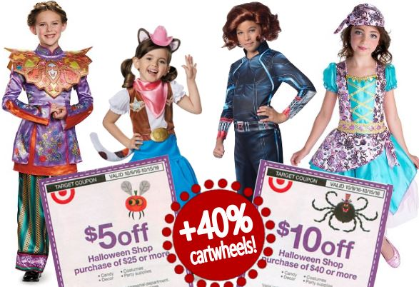 theres a few nice new target cartwheel offers available to save a whopping 40 off select kids halloween costumes they all exclude clearance and are valid
