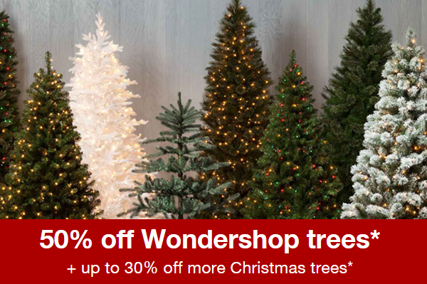 for a limited time only target is offering 50 off their wondershop trees plus up to 30 off other brands if you dont have your tree yet