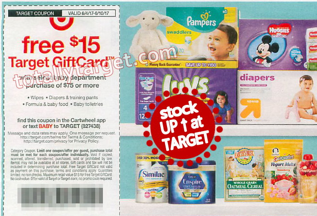 Free 15 Target Gift Card With Baby Purchase Of 75 Starts 6 4 New High Value Huggies Coupons Totallytarget Com