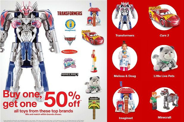 b1g1 50 off top toy brands at target in stores online imaginext