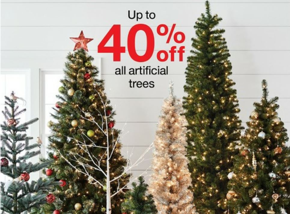 Thru 11/22 – Target is offering up a big savings of up to 40% Off on artificial Christmas trees both in stores and online at Target.com.