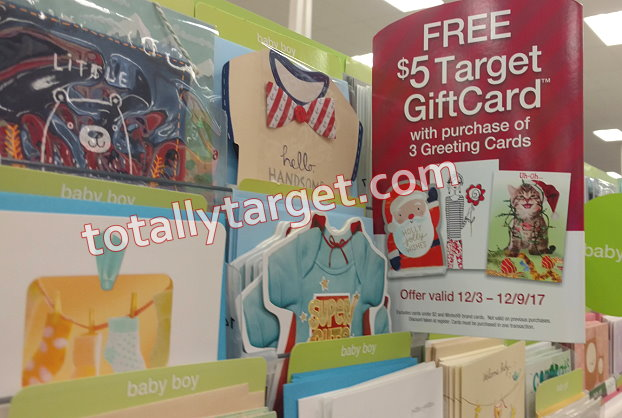 Get a free 5 target gift card wyb 3 greeting cards totallytarget there is a nice offer for a free 5 target gift card wyb 3 greeting cards this week only thru 129 this offer is valid on any type of greeting card m4hsunfo