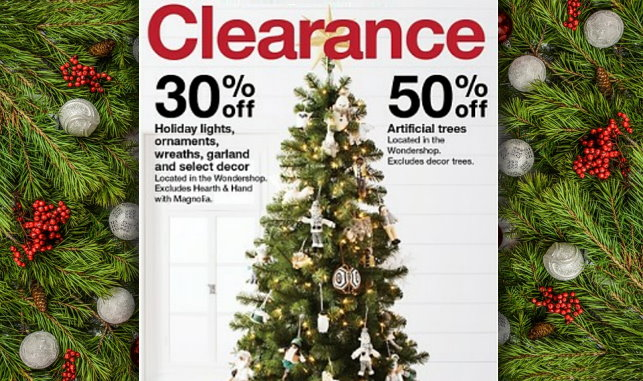 this week thru 1224 target is offering 50 off artificial christmas clearance both in stores online at targetcom no code coupon or cartwheel is