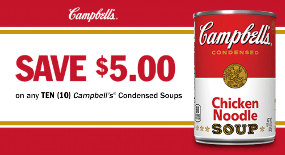 image about Campbell Soup Printable Coupon titled EXPIRED* Clean Large-Great importance $5/10 Campbells Soup Coupon