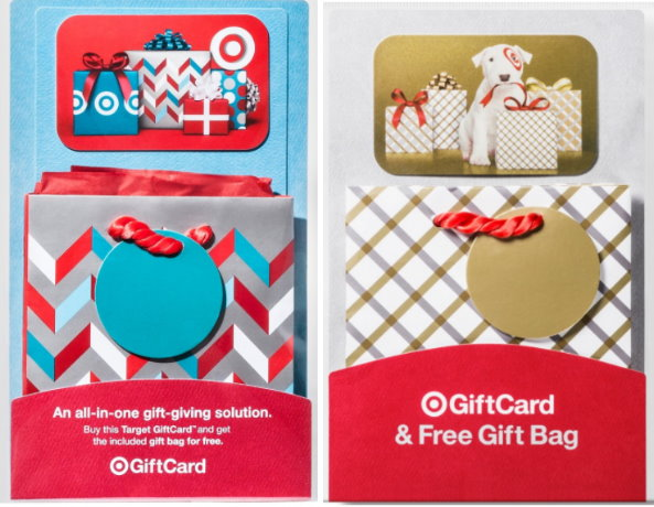 Get a free greeting card or gift bag with a target gift card in addition there are also two different styles of target gift cards that come with a free small gift bag i have seen these both in stores m4hsunfo