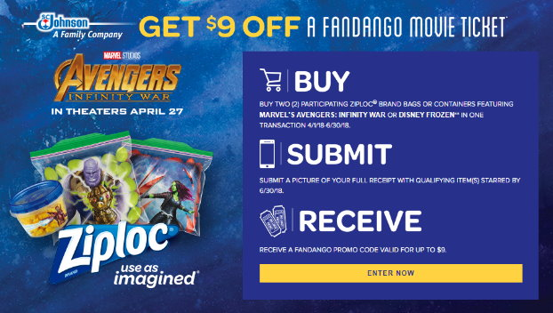 picture regarding Ziploc Printable Coupons named $9 Off a Fandango Video clip Ticket wyb Ziploc Solutions