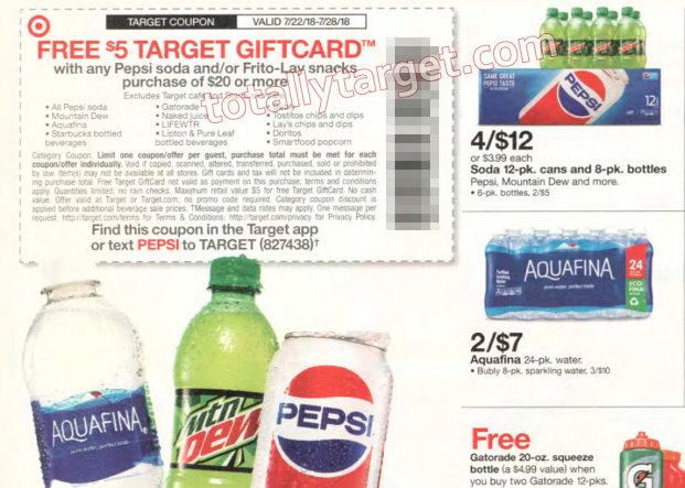 7db34cf7185b1 Get a FREE $5 Gift Card with a $20+ Pepsi Purchase Starts 7/22 – Save on  Starbucks, Tostitos & More