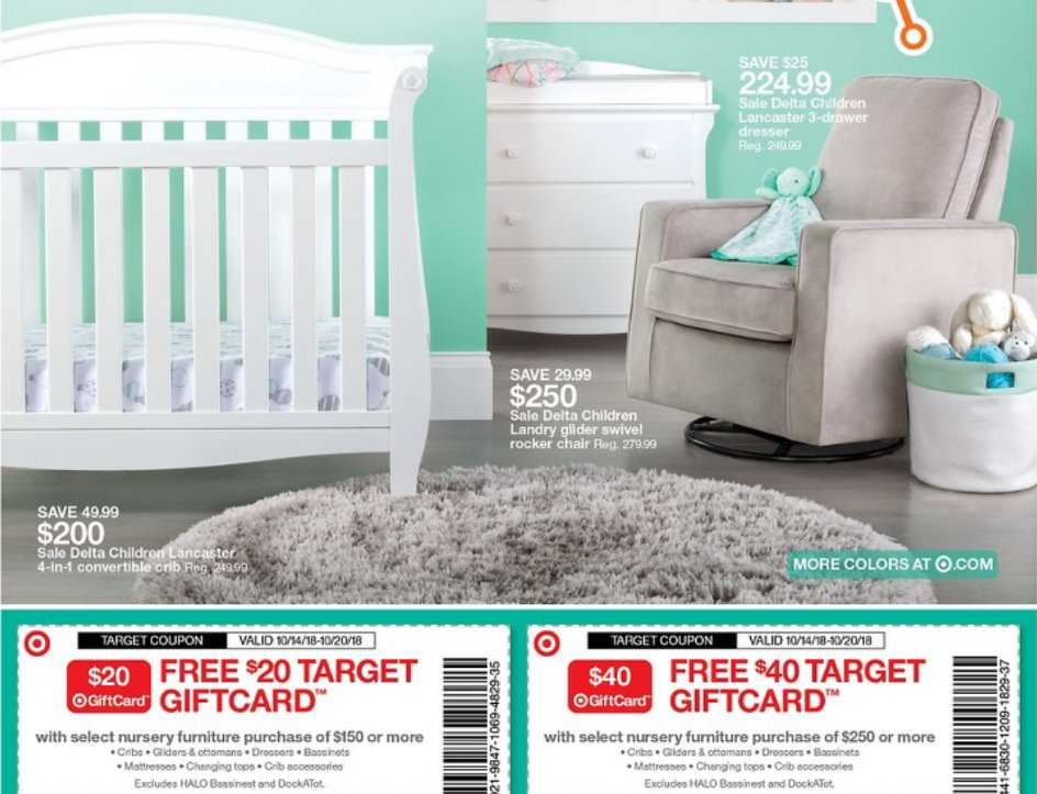 This Week Thru 10 20 Target Is Offering Up A Free 40 Gift Card With Select Nursery Furniture Purchase Of 250 Or More Both In S And Online At