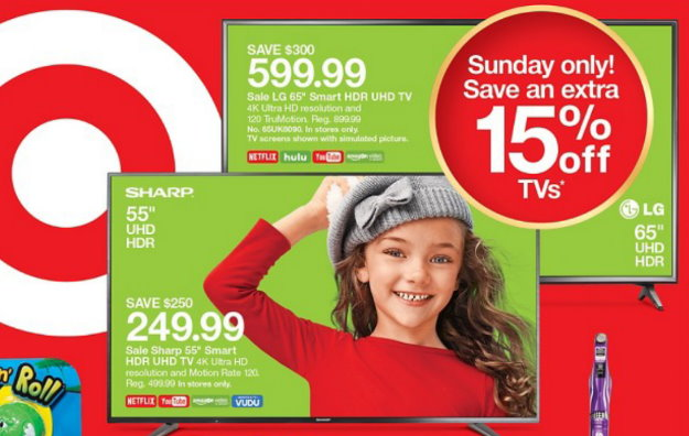 Sales + Extra 15% Off TVs at Target In Stores & Online