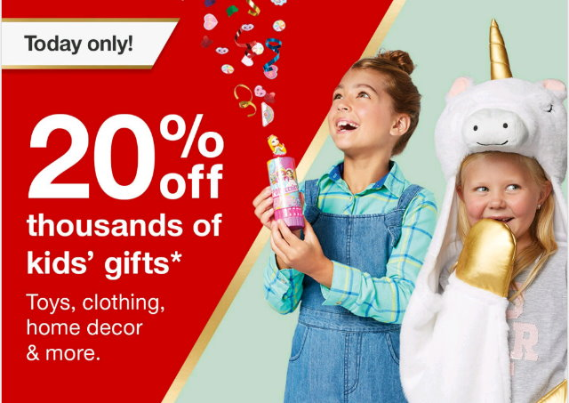 af3d8a0bd For today only, 11/17, Target is offering up an extra 20% Off thousands of  kids' gifts both in stores and online at Target.com. This offer includes  select ...