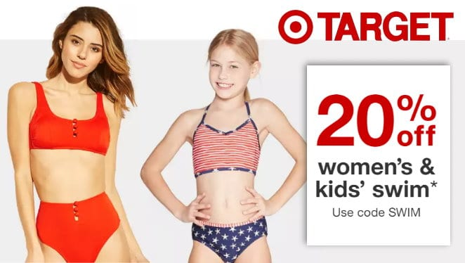 cb33462ac0 Thru Saturday, July 6th, Target is offering an Extra 20% Off Women's, Kids'  & Baby Swim Wear both in stores and online at Target.com.