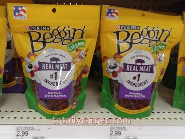 Photo of Purina Beggin' Treats that qualify for the Purina coupons