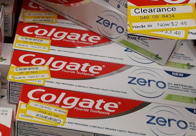 Colgate Zero Toothpaste on clearance