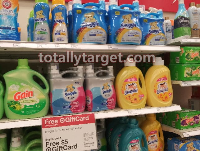 Photo of products on the shelf at Target the Snuggle coupons are valid on