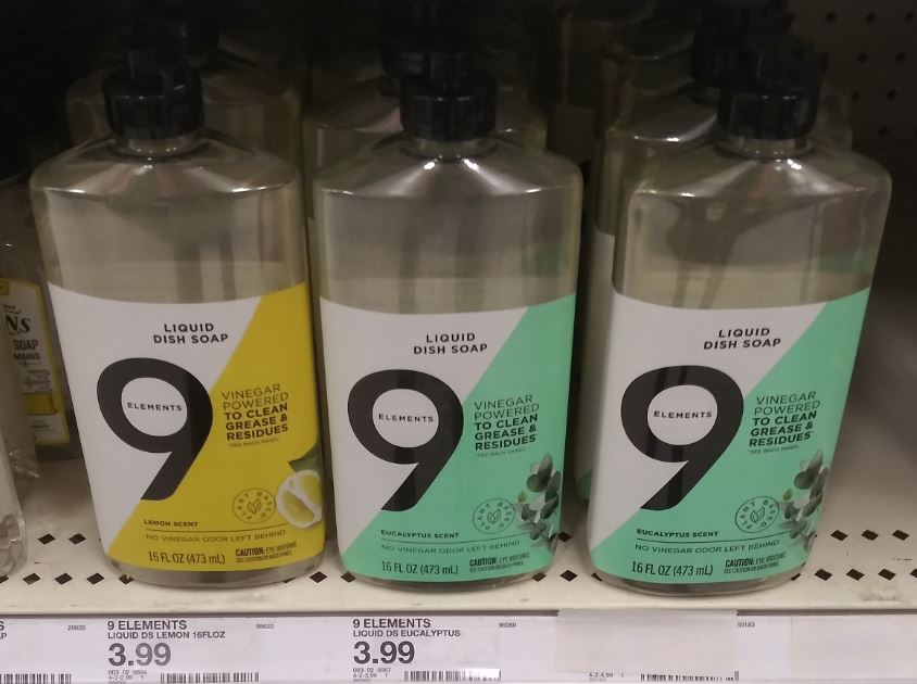 9 Elements household cleaners on the shelf at Target