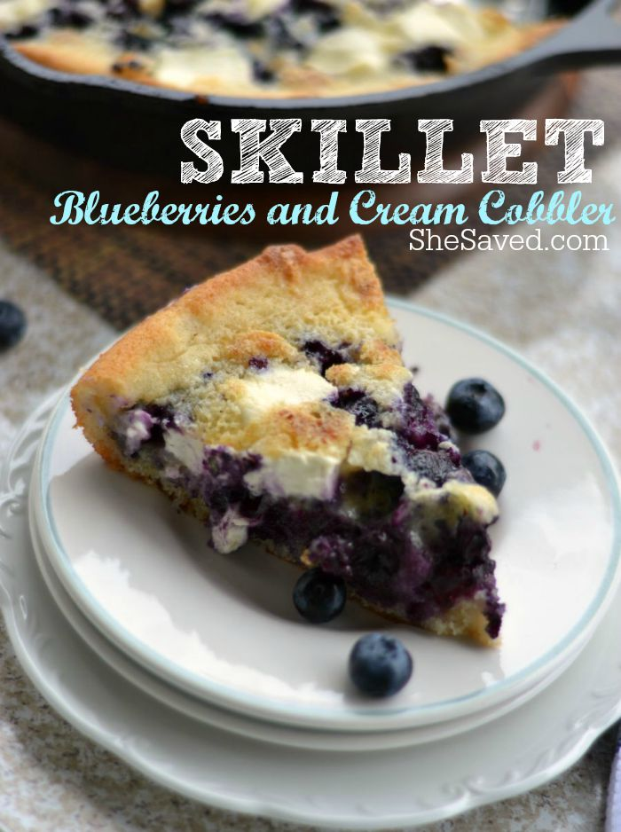 Photo of blueberries and cream cobbler on a plate