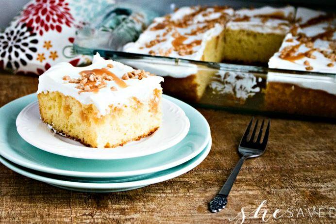 Photo of Caramel toffee poke cake on a plate
