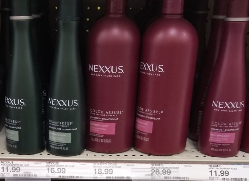 Photo of hair care products at Target you can use the Nexxus coupons on.