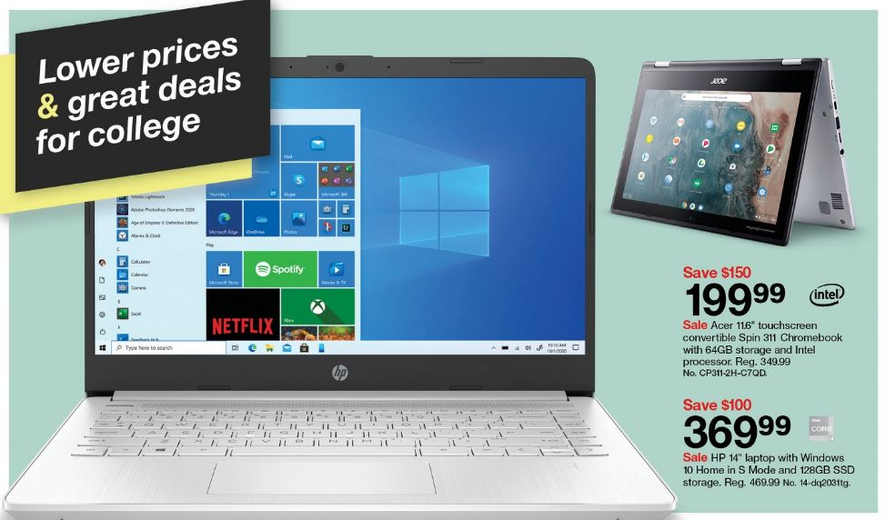 Image of laptop sale at Target