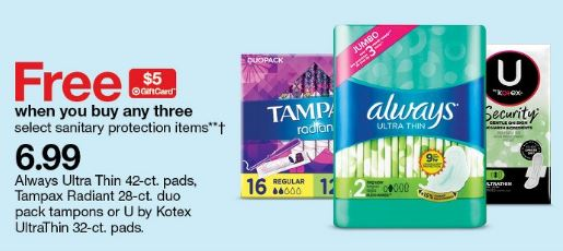 Photo of u by Kotex Products in Target ad