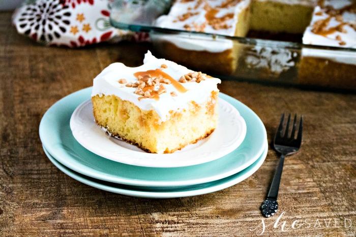 image of caramel poke cake on a plate