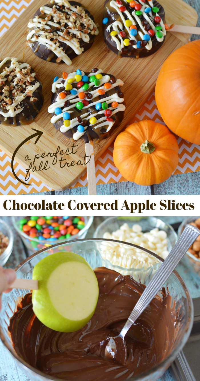 Photo of Chocolate covered apple slices on a stick